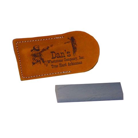 "Genuine Arkansas True Hard Pocket Knife Sharpening Stone Whetstone 3"" x 1"" x 1/4"" in Leather Pouch XAP-13A-L"