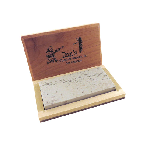 "Genuine Arkansas Soft (Medium) Knife Sharpening Bench Stone Whetstone 4"" x 2"" x 1/2"" in Wood Box MAB-42-C"