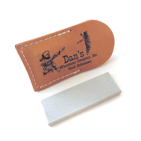 "Genuine Arkansas Hard (Fine) Pocket Knife Sharpening Stone Whetstone 3"" x 1"" x 1/4"" in Leather Pouch FAP-13A-L"