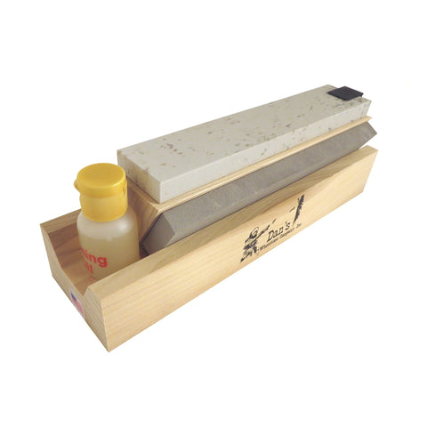 "Genuine 3 Stone Arkansas 8"" Full Size Tri Hone Whetstone Knife Sharpening System with Silicon Carbide (Coarse), Soft (Medium) and Hard (Fine) Stones 8"" X 1"" X 1/4"" TRI-8"