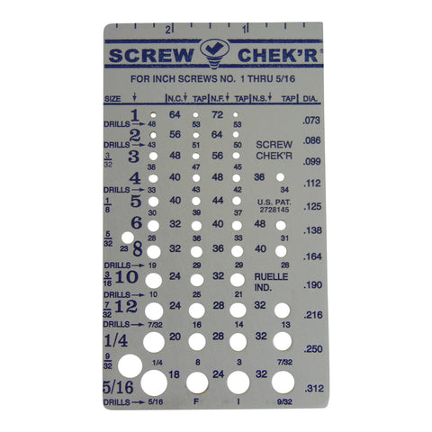 SAE/Inch Screw Checker (#1 - 5/16?) - Made in USA