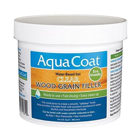 Aqua Coat, Best Wood Grain Filler. Clear Gel, Water based, Low Odor, Fast Drying, Non Toxic, Environmentally Safe. Quart