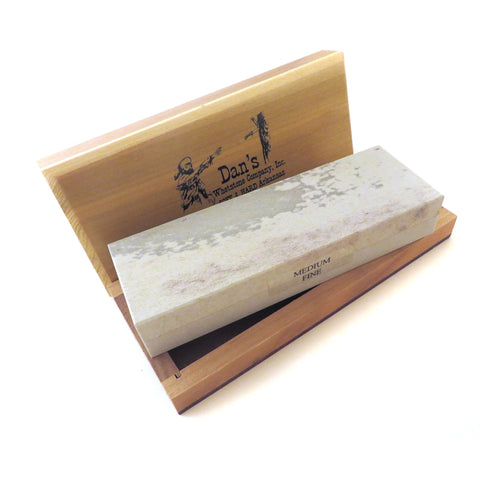 "Genuine Arkansas Combination Soft (Medium) and Hard (Fine) Knife Sharpening Bench Stone Whetstone 6"" x 2"" x 1"" in Wood Box MFC-6-C"