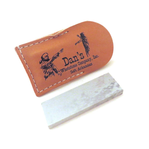 "Dans Genuine Arkansas Soft Medium Pocket Knife Blade Sharpening Stone Whetstone 4"" x 1"" x 3/8-1/2"" in Leather Pouch MAP-14-L"