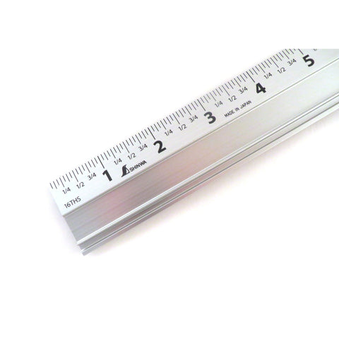 "Shinwa 24"" Extruded Aluminum Cutting Rule Ruler Gauge with Non slip rubber Backing 33295"