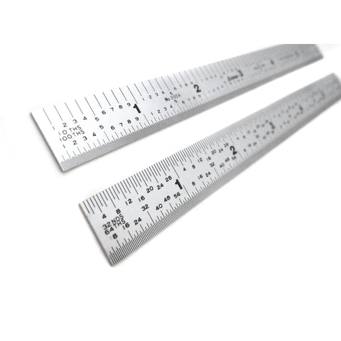 "Shinwa 6"" 5R Narrow and Flexible (.500 wide x .020 thick) Zero Glare Satin Chrome Stainless Steel 5R Machinist Engineer Ruler / Rule with Graduations in 1/64, 1/32, 1/10, 1/100 Model H-3102A"