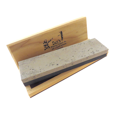 "Genuine Arkansas Combination Soft (Medium) and Black Surgical (Ultra Fine) Knife Sharpening Bench Stone Whetstone 8"" x 2"" x 1"" in Wood Box MBC-8-C"