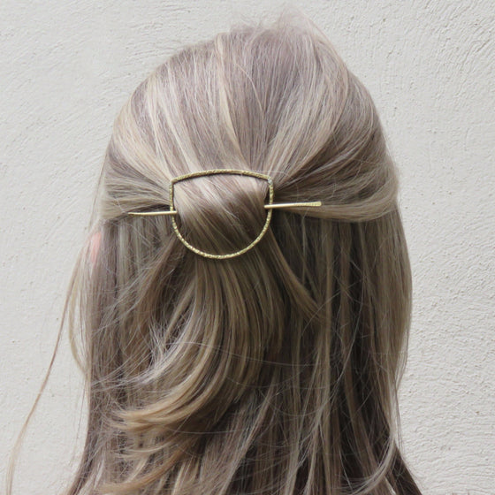 Half Circle Hair Slide (Gold)  - VELVET HEAD