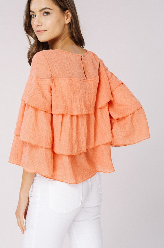 Soft Woven Textured Layered Top