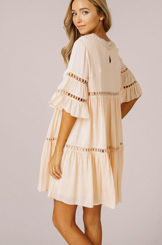 Ruffled Babydoll Dress With Bell Sleeves