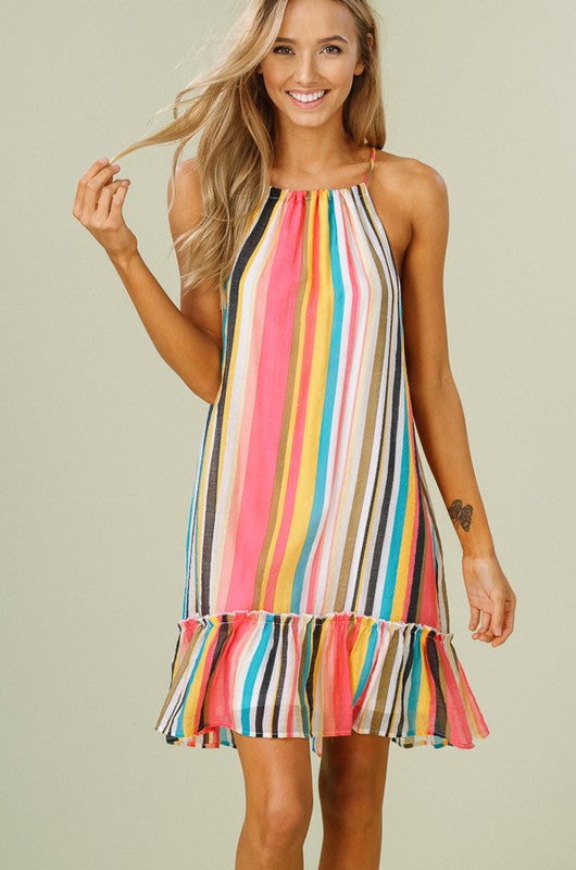Multi-Color Striped Halter Dress