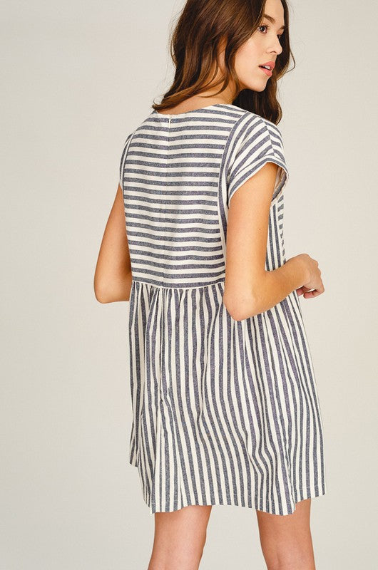 Striped Pleated Babydoll Dress