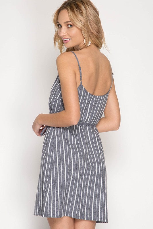 Misty Pink Striped Tied Waist Cami Dress