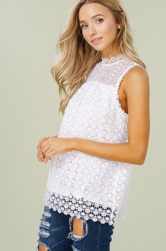 Sleeveless Lace Blouse - GlamVault