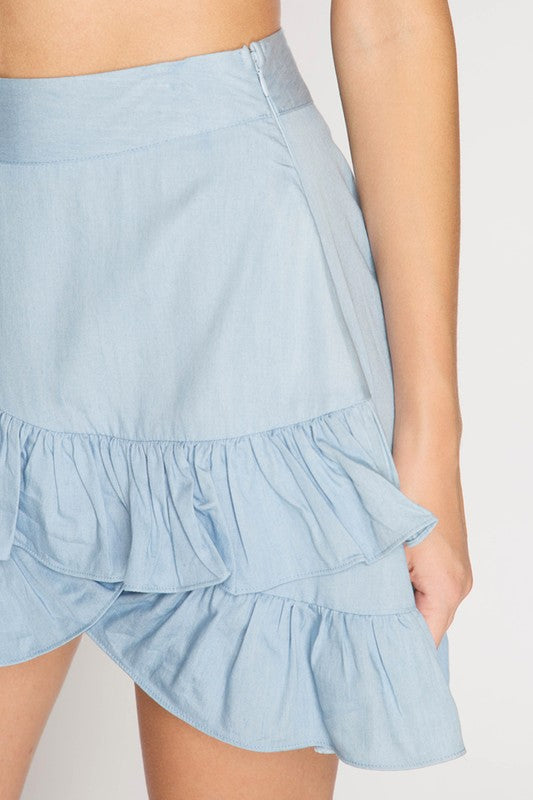 Ruffled Tulip Chambray Mini Skirt