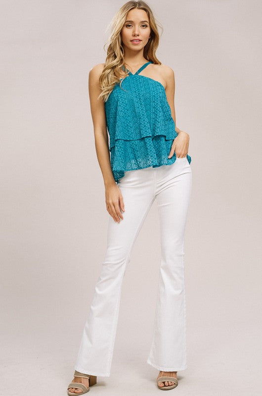 Embroidered Halter Neck Layered Top