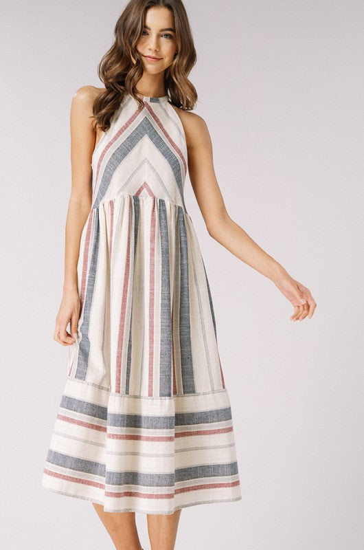 Striped Woven Halter Dress with Pockets