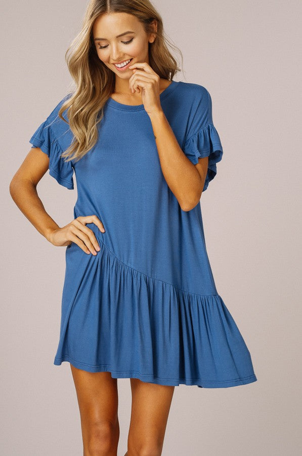 Short Sleeve T-Shirt Dress With Drop Waist Ruffle - GlamVault