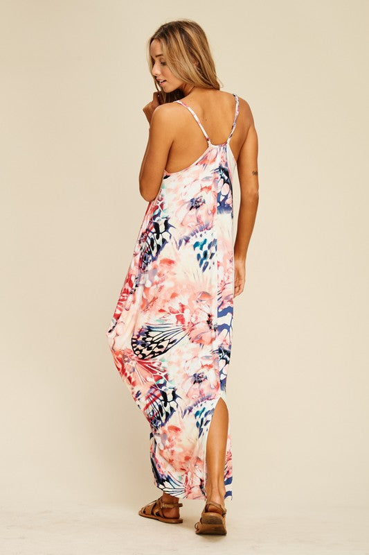 Butterfly Floral Maxi Dress with Side Pockets