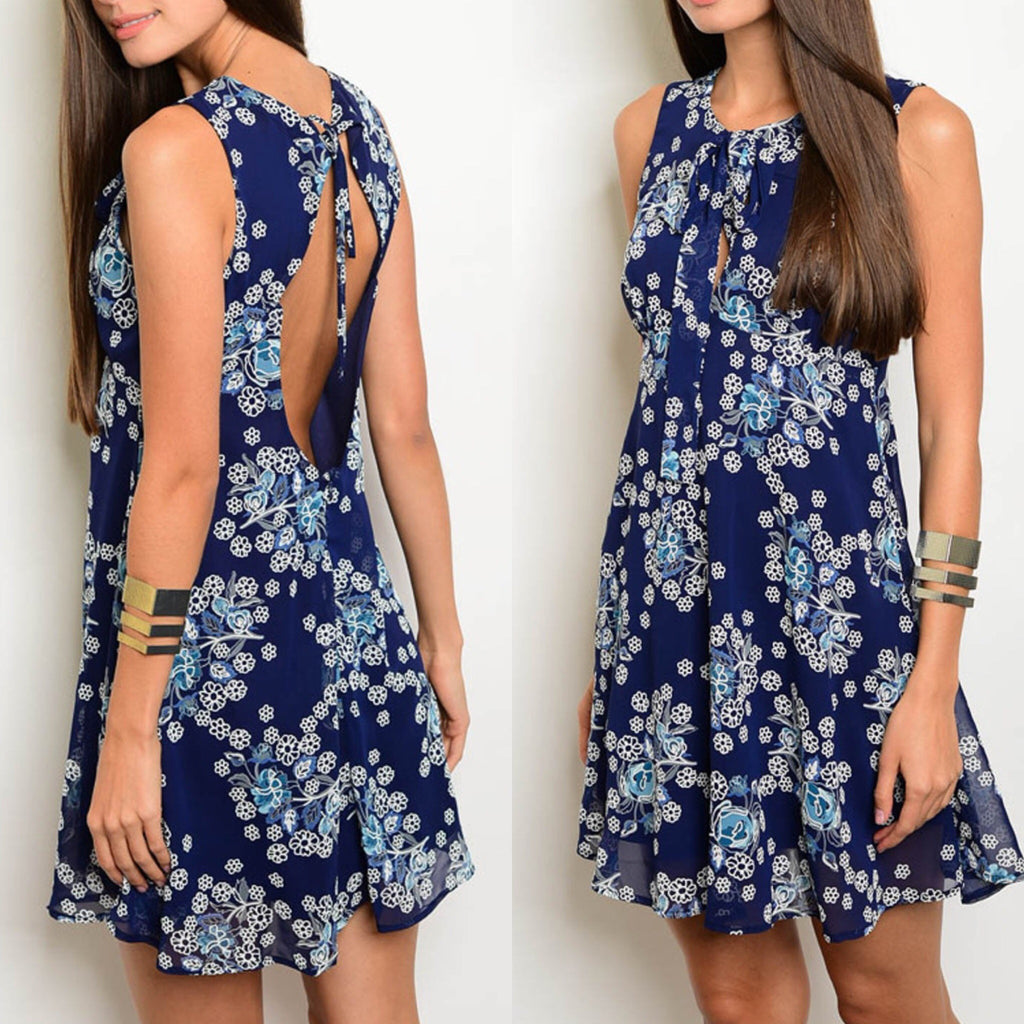 Navy and White Floral Keyhole Back Dress - GlamVault