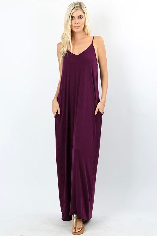 Plum Cami Maxi Dress with Pockets