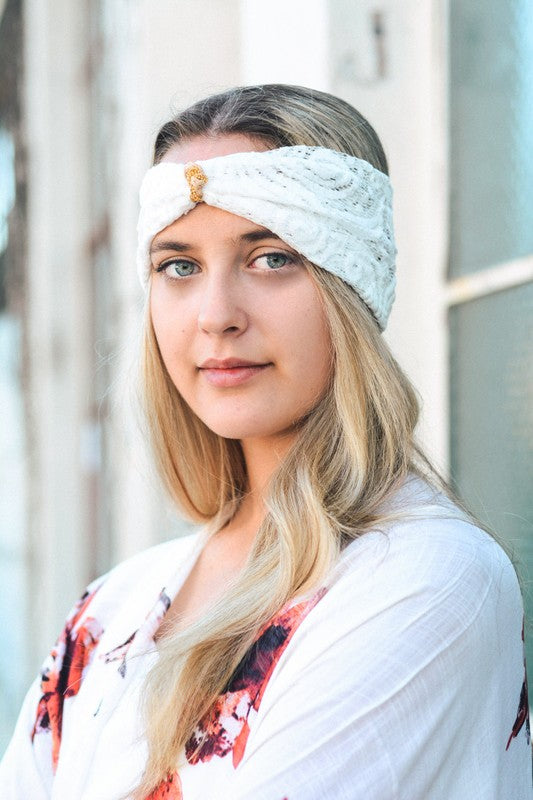 Copper Elegant Lace Headband - GlamVault