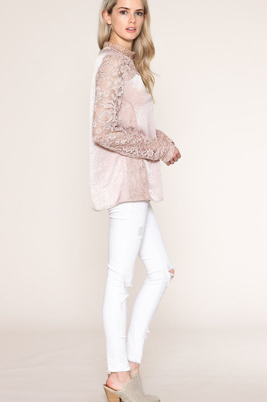 Mauve Silky Long Sleeve Top with Lace - GlamVault