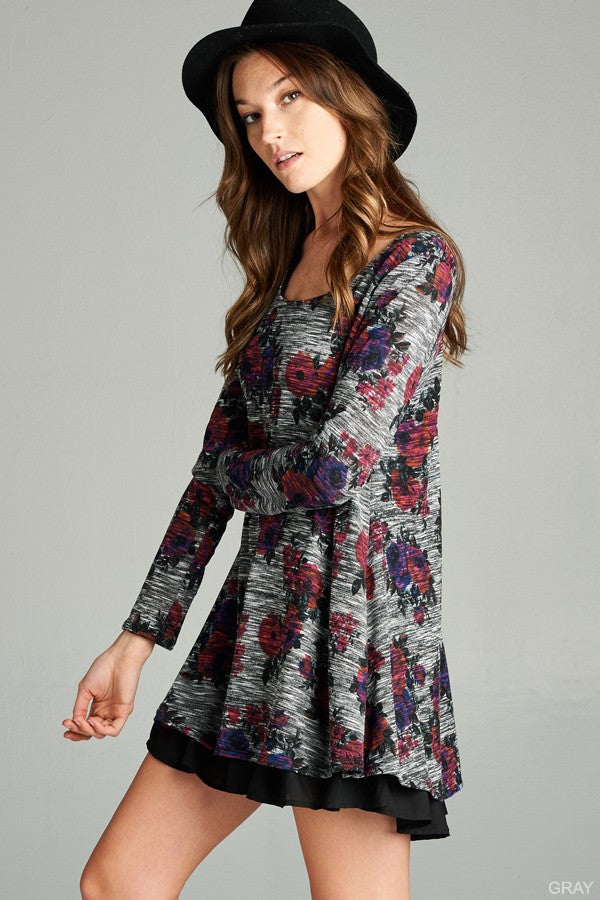 Grey Floral Long Sleeved Contrast Tunic Dress