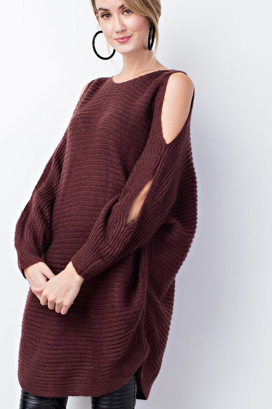 Plum Chunky Knit Cold Shoulder Sweater with Dolman Sleeves - GlamVault