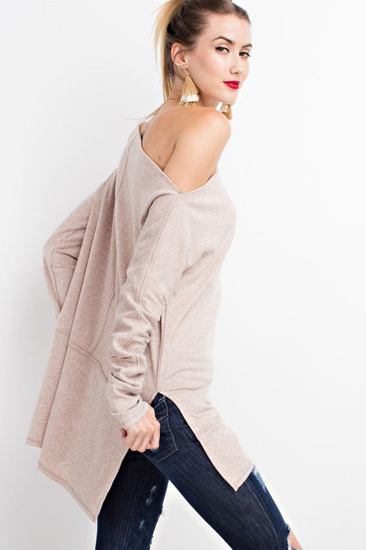 Brushed Knit Loose Fit Tunic With Side Slits - GlamVault