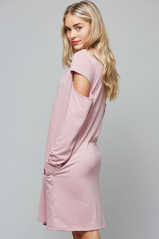 French Terry Dress with Cut Out Sleeves & Pockets - GlamVault