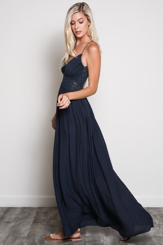Open Lace Back Maxi