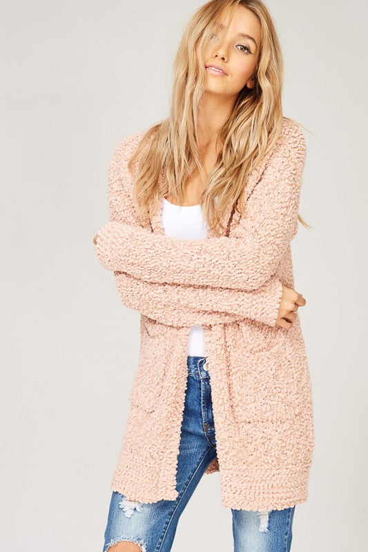 Blush Popcorn Cozy Pocket Open Cardigan