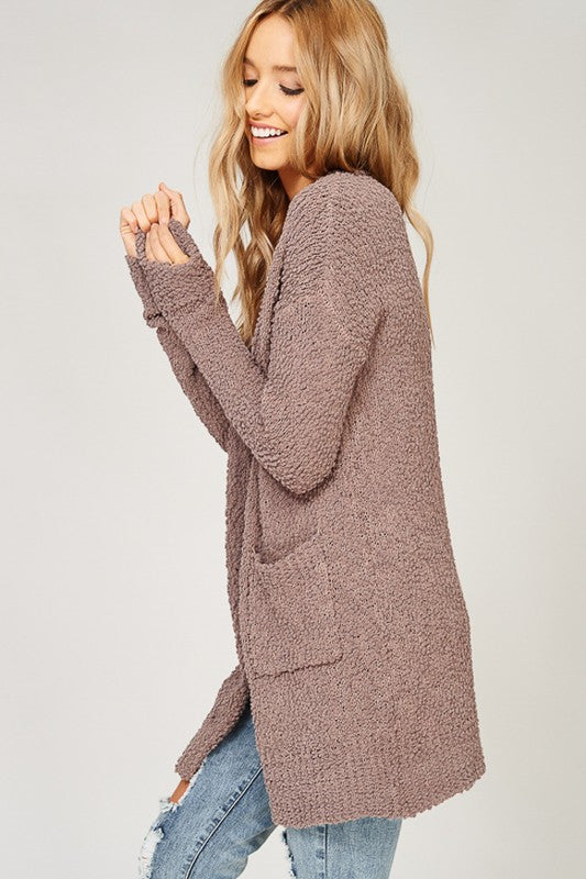 Mocha Popcorn Cozy Pocket Open Cardigan