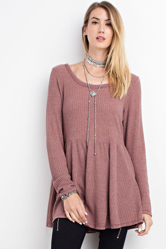 Soft Thermal Babydoll Tunic with Lace Up Back - GlamVault