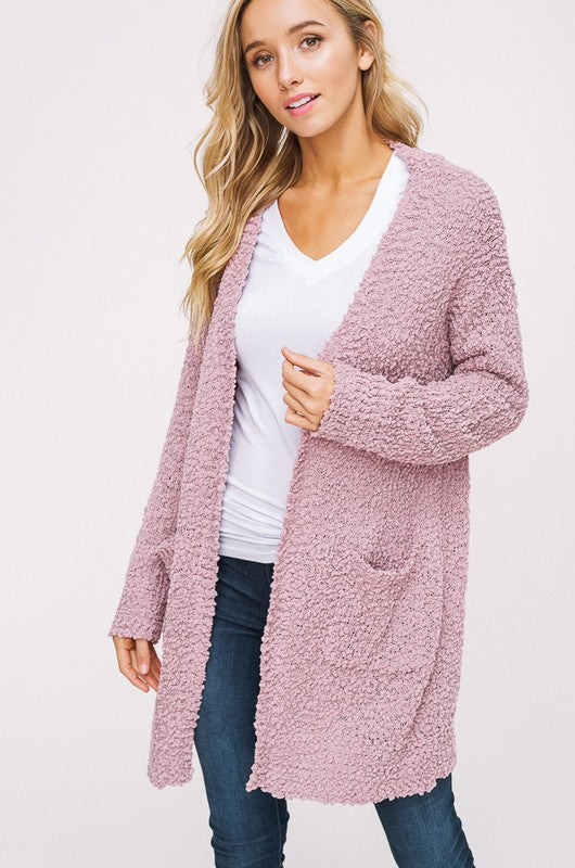Mauve Popcorn Cozy Pocket Open Cardigan