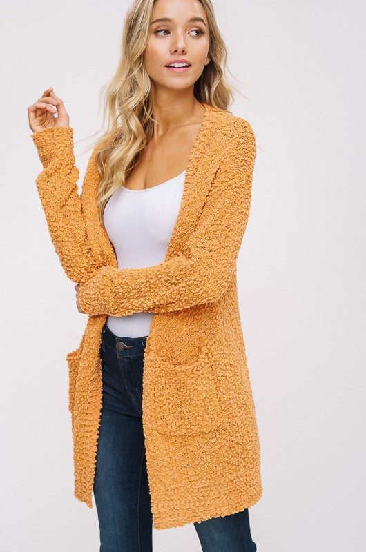 Apricot Popcorn Cozy Pocket Open Cardigan