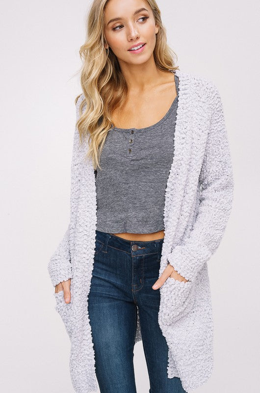 Grey Popcorn Cozy Pocket Open Cardigan