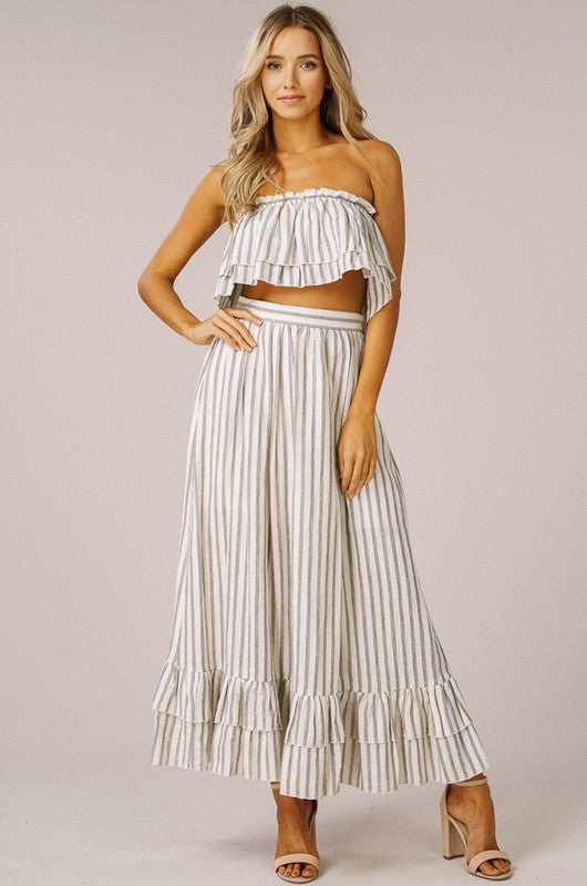 Striped Layered Crop Top and Maxi Skirt Set
