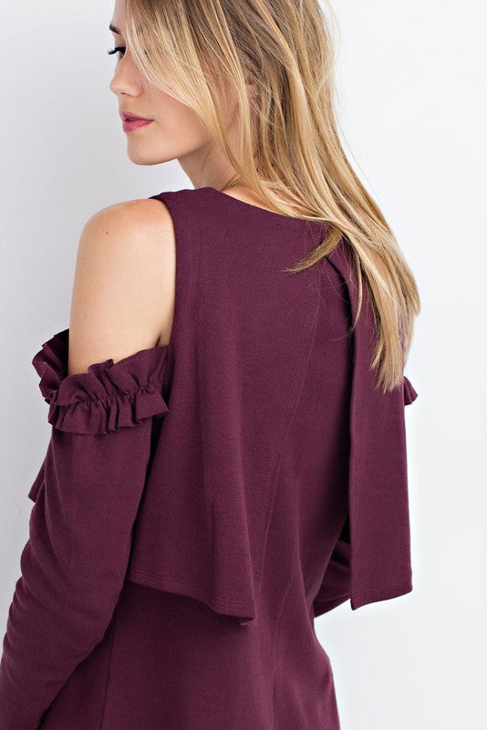 Plum Ruffle Cold Shoulder Sweater & Split Overlay Back - GlamVault