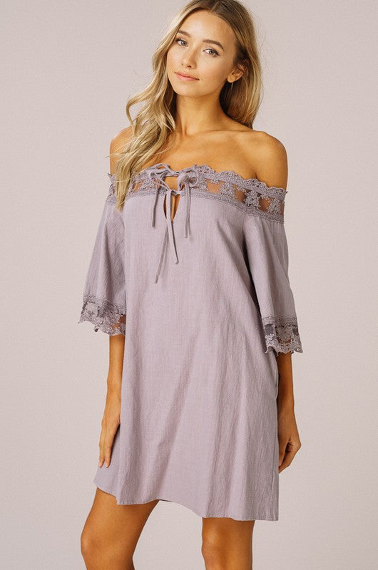 Sheer Lace Off the Shoulder Dress with Pockets - GlamVault