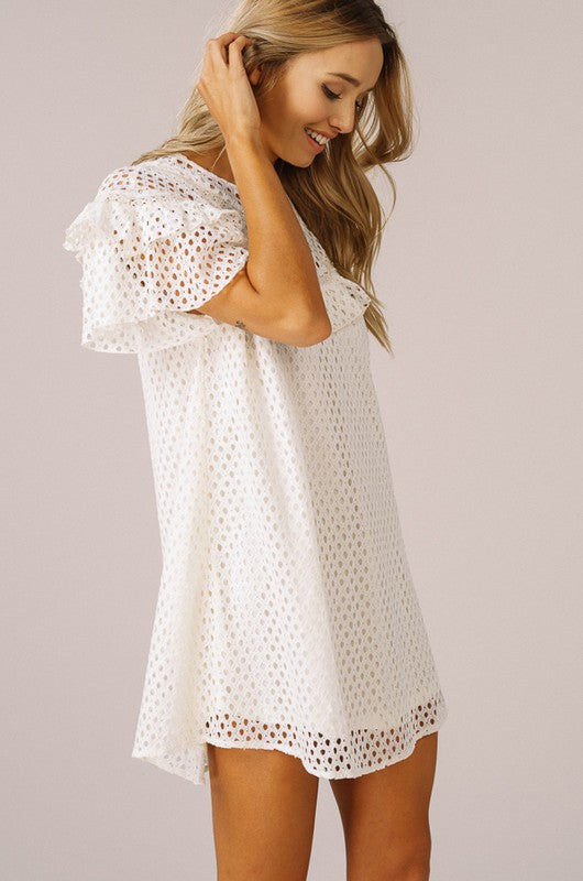 Ruffle Tunic Dress With Rounded Yoke