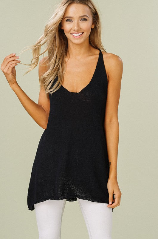 Knit Tank Top Shirt Dress With Lace Up Sides - GlamVault