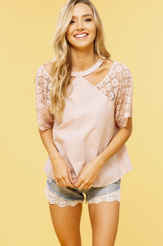 Textured Lace & Raglan Sleeve Top