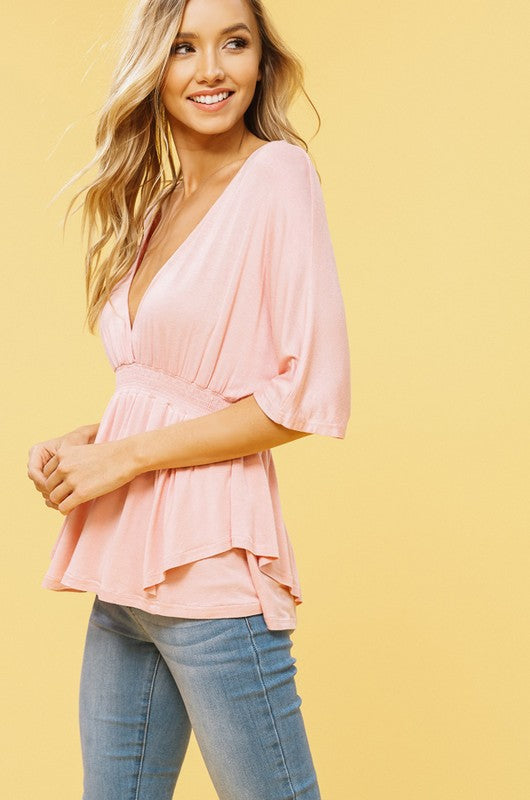 Layered Peplum Top With Dolman Sleeves