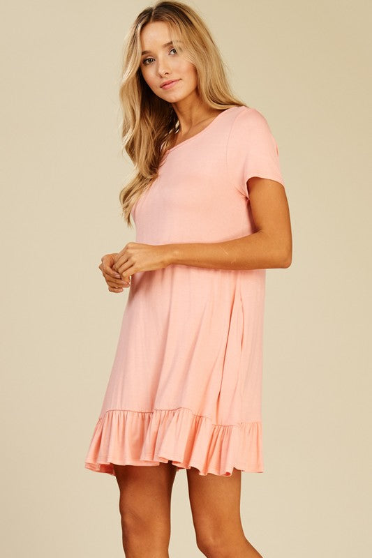 Round Neck Short Dress with Side Pockets