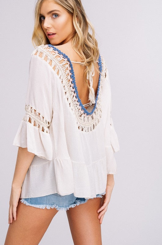 Ivory Ruffle High Low Hand Crochet Top