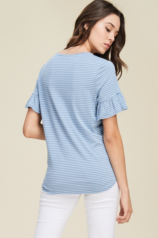Striped Short Bell Sleeve Top