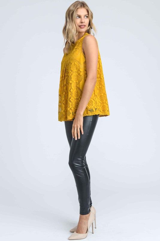 Yellow Lace Sleeveless Top