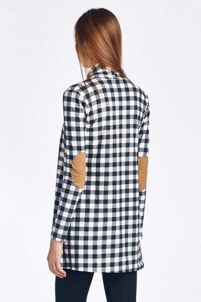 Open Front Plaid Slim Cardigan With Suede Elbow Patches - GlamVault
